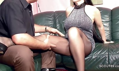 Hairy German Cougar in Nylon get Hard Fuck and Jism On