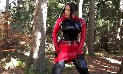 Busty Halloween Beauty - Outdoor Suck Off Handjob with Latex Gloves - Cum on my Gloves