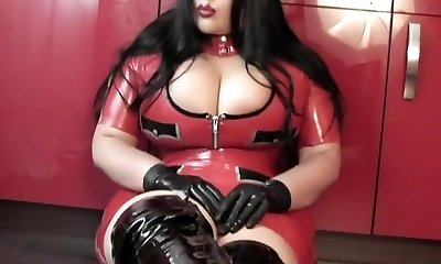 Kitchen Blowjob Hj with Spandex Gloves - Lady dressed in latex uniform Footwear - Cum in my Mouth