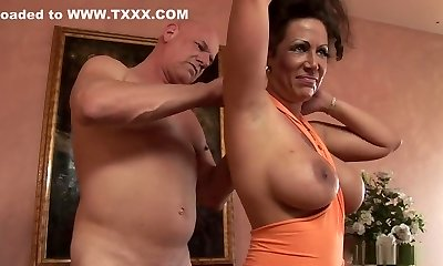 Crazy pornographic star Anjelica Lauren in exotic mature, big tits sex sequence