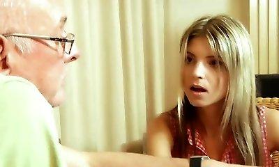 Materialist young blond fucks grandpa for money