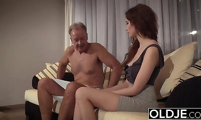 Old Young Porn All-natural Teen Takes Granddad cock In her pussy