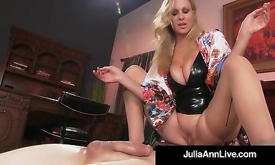 Boy Toy Gets Strangled By Glamorous Cougar Julia Ann's Pussy!