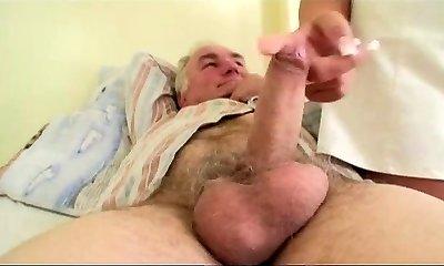 Granny sees grandfather fucks nurse in hospital