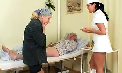 Naughty Warm Nurse Helps Older Patient To Get Laid