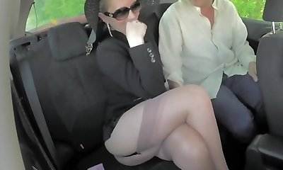 Light-haired sexy legs mature cougar shows stocking tops