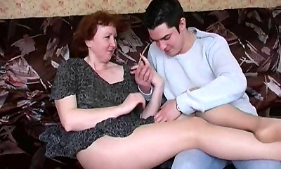 Russian mature mom in stockings and her boy! Unexperienced!