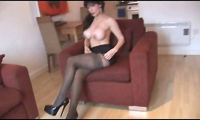 Silly Fake Boobies Mature in Pantyhose and Tights