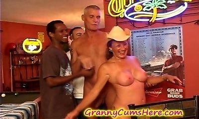Granny gets a POOLHALL Gang BANG