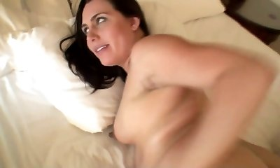 Six months pregnant preggo mom firm plow in the morning