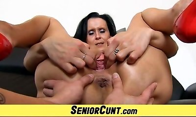 Old with youthful pussy stretching games with hot milf Nora