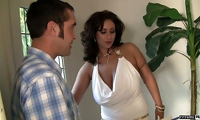 Huge titted MILF Eva Notty rimming her man before xxx fuck