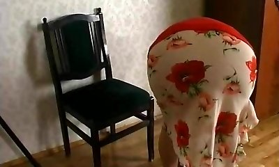Horny russian granny's sex with a man