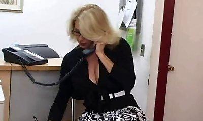 Mature secretary gets spunk on her big orbs