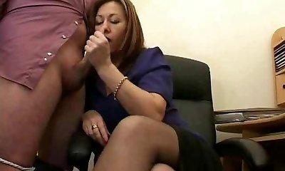 Hot Mature Secretary Jerks The Jizz From Bosses Meatpipe !