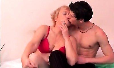 Smoking Granny Gets Bra-less For Youthful Fuckboy.