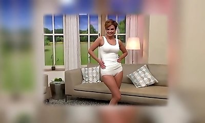 Mature model cameltoe on TV store. Underwear