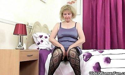 British grandma Diana going solo in fishnets