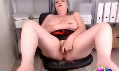 Granny Squirts on Office Webcam