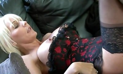 Sexy blonde hooker in stockings