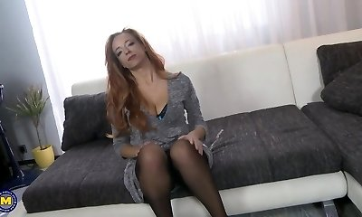 Ginger mother with big hooters fucked by son
