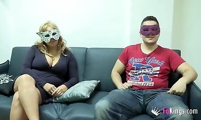 Thick boobed blonde want to fuck masked guy