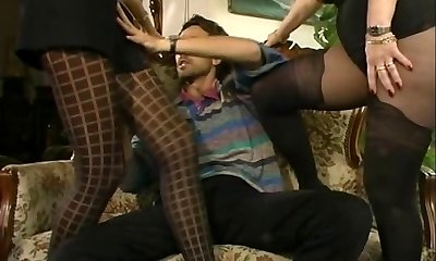 MFF Steve got involved with two super-hot MILFs in tights