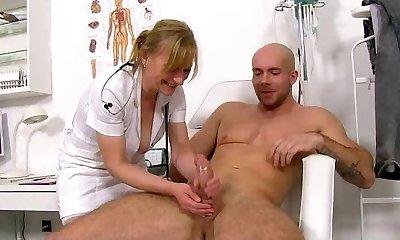 Czech uniform cougar Gabina assists a boy with wad donation