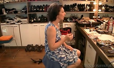 Brunette granny is drilled upskirt from behind in POV