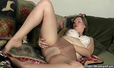 Nylon stocking will get mom's juices flowing