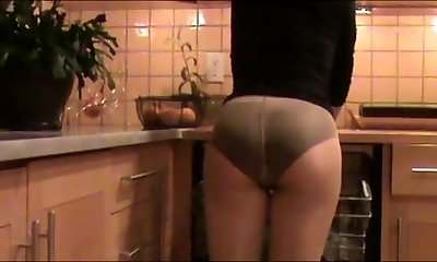 Mom Cleans The Kitchen In Underpants Under Stockings
