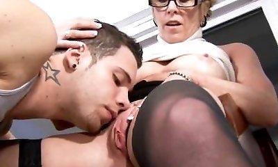 Wild granny seduces student