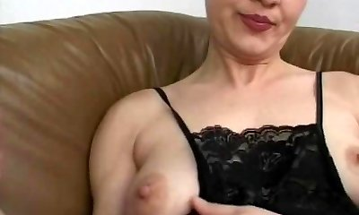 Unexperienced mom gang-fuck with many cocks and facials