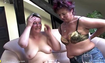 Mature romp soiree with moms and boy