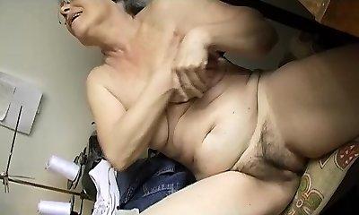 Naughty Old chubby Granny Masturbating with dildo