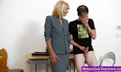 Mother teacher playing plus a cock