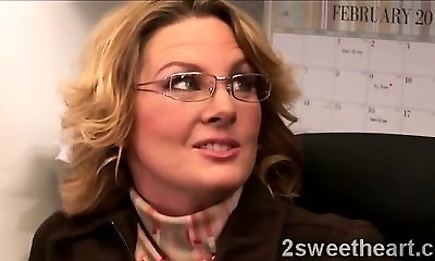 Big stacked mature secretary teaches her new beautiful mate