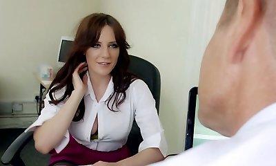 Mature greedy boss gullet fucks big boobed dark-haired strumpet in his office hard