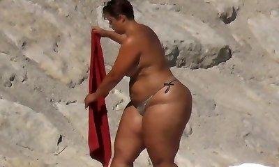 BBW Huge Butt on the Beach