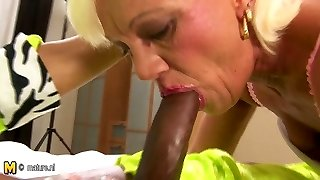 Hairy mature mother gets her old twat crammed with jizm
