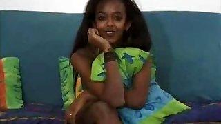 Beautiful Ebony Teenage Takes A White Dick !