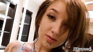 Tattooed goth bitch gets buttfucked