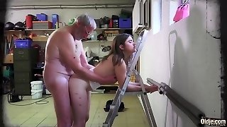 Old Grandpa Nails Gina Gerson And Her Girlfriend In Hard-core