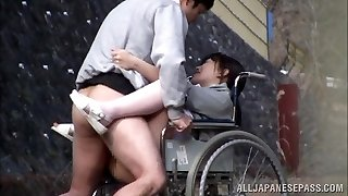 Horny Japanese nurse sucks pecker in front of a voyeur