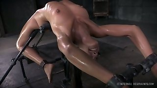Flexible brunette hotty Lyla Storm had hard fuck-fest with her BDSM boy