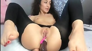 Deep anal faux-cock and feet