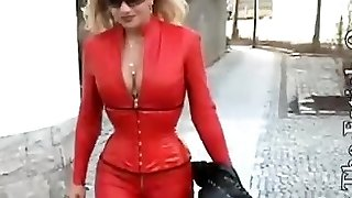 Latex glamour porn flick with bi-atch dressed in red