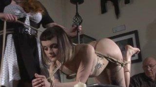 Alternative fetish model Violettes girl/girl bondage and livingroom restraints of damsel in grief roped and tied