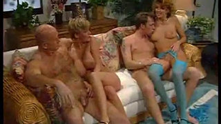 Hard-core group orgy with mature whores.
