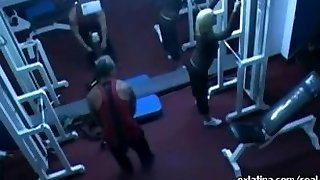 Hidden camera films old guy fucking youthful latina in gym